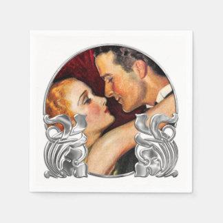 Art déco blanco y de plata rojo/arte Nouveau Servilleta Desechable