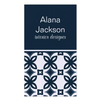 Art Deco Blooms Business Card, Blue
