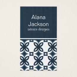 Art Deco Blooms Business Card, Blue Business Card