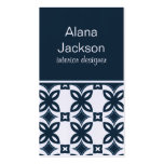 Art Deco Blooms Business Card, Blue Double-Sided Standard Business Cards (Pack Of 100)