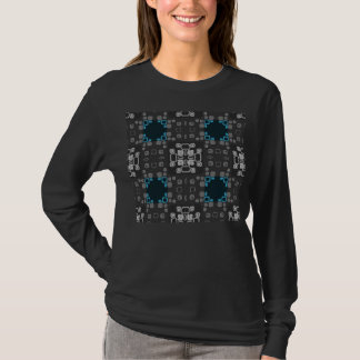 Art Deco Blue, Grey Floral Swirl Retro Abstract T-Shirt