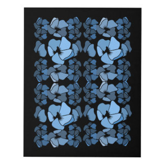 Art Deco Blue on Black Floral Pattern