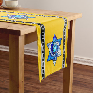 Art Deco Blue Stained Glass Magen David on Yellow Short Table Runner
