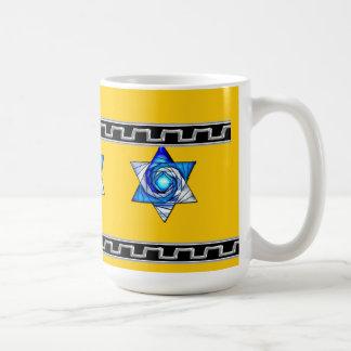 Art Deco Blue Stained Glass Star of David - Yellow Classic White Coffee Mug