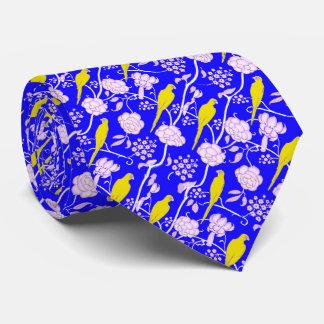 ART DECO BLUE WHITE FLOWERS WITH YELLOW PARROTS NECK TIE