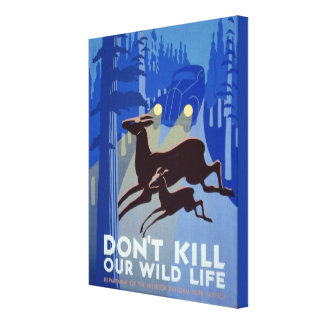 Art Deco Blue Wildlife National Parks WPA Poster Canvas Print