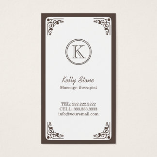Art Deco Border Massage Therapist Business Card