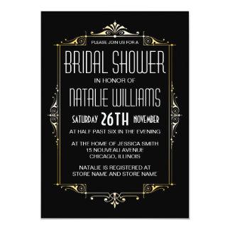 "Art Deco Bridal Shower 20's Vintage Retro 5"" X 7"" Invitation Card"