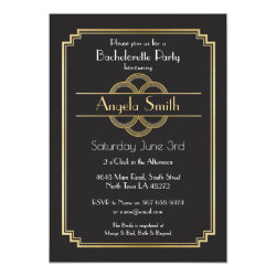 Art Deco Bridal Shower Bachelorette Party 1920s Invitation