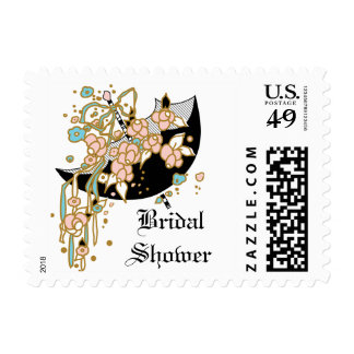 Art Deco Bridal Shower Postage Stamp
