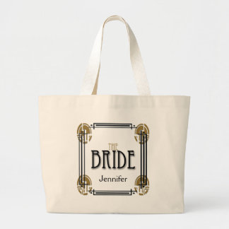 Art Deco Bride in Black and White Large Tote Bag