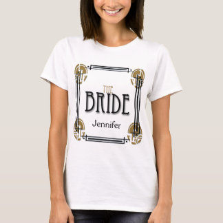 Art Deco Bride in Black and White T-Shirt