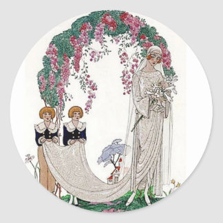 Art Deco Bride Classic Round Sticker