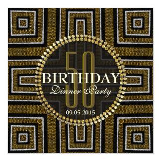 Art Deco Bronze Gold 50th Birthday Invitation