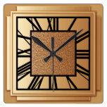 Art Deco, brushed copper Clock