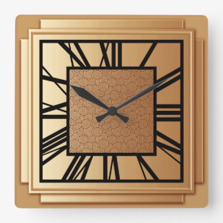 Art Deco, brushed copper Square Wall Clock