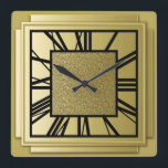 """Art Deco, brushed gold Square Wall Clock<br><div class=""""desc"""">Art Deco,  brushed gold,  3-d effect wall clock with black numbers - digital graphics</div>"""