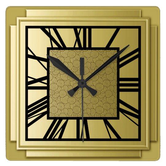 art deco brushed gold square wall clock. Black Bedroom Furniture Sets. Home Design Ideas