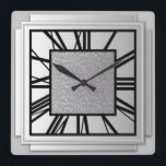 """Art Deco, brushed silver Square Wall Clock<br><div class=""""desc"""">Art Deco,  brushed silver,  3-d effect wall clock with black numbers - digital graphics</div>"""
