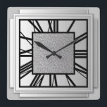 "Art Deco, brushed silver Square Wall Clock<br><div class=""desc"">Art Deco,  brushed silver,  3-d effect wall clock with black numbers - digital graphics</div>"