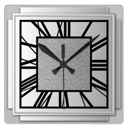 Art Deco Brushed Silver Square Wall Clock Zazzle