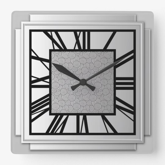 Art Deco Brushed Silver Square Wall Clock Zazzle Com