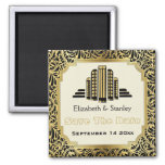 Art Deco building black gold wedding Save the Date 2 Inch Square Magnet