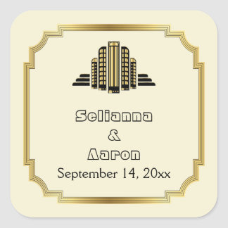 Art Deco building black gold wedding Save the Date Square Sticker