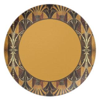 Art Deco Burl Wood Dinner Plate