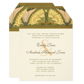 Art Deco Butterfly Calla Lily Wedding Invitation