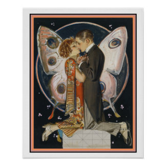 Art Deco Butterfly Couple 16 x 20 Print
