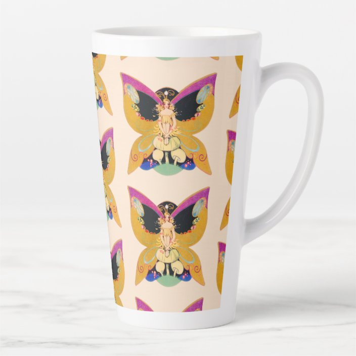Art Deco Butterfly Fairy Sitting On Mushrooms Latte Mug Zazzle Com