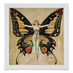 Art Deco Butterfly Lady Poster