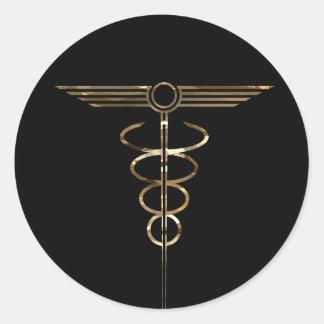 Art Deco Caduceus Round Sticker