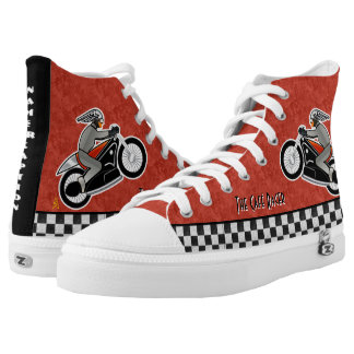 Art Deco Café Racer - Red, Black - Personalized High-Top Sneakers