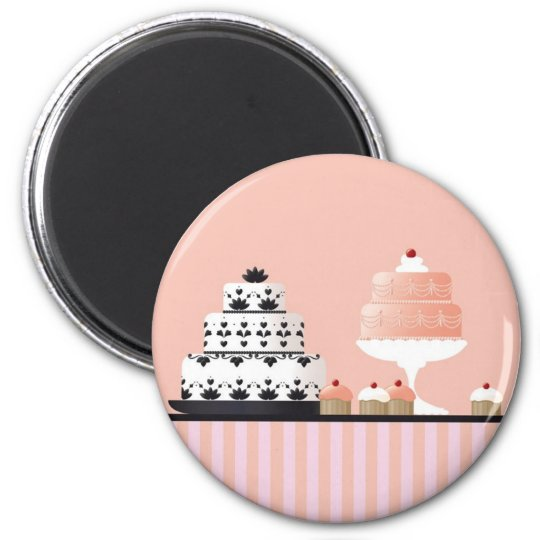Art Deco Cakes on a Striped Tablecloth Magnet