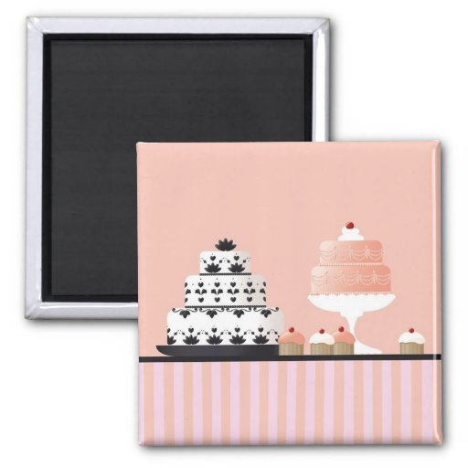 Art Deco Cakes on Striped Tablecloth Magnet