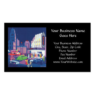 Art Deco Calcutta City Theatre Scene High Contrast Double-Sided Standard Business Cards (Pack Of 100)
