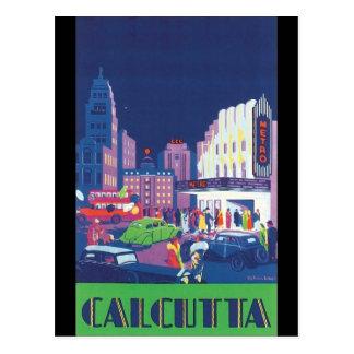 Art Deco Calcutta City Theatre Scene High Contrast Postcard