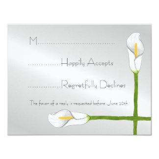 Art Deco Calla Lily Wedding RSVP Card Invite
