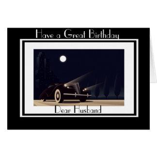 ART DECO CAR  HUSBAND GREETING CARD