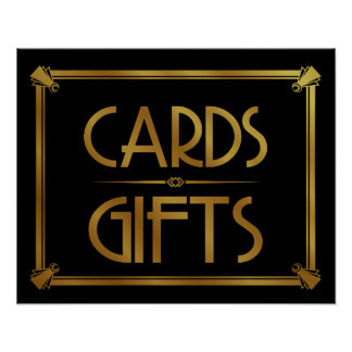Art Deco Cards and gifts table print GOLD
