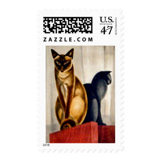 Art Deco Cats Postage