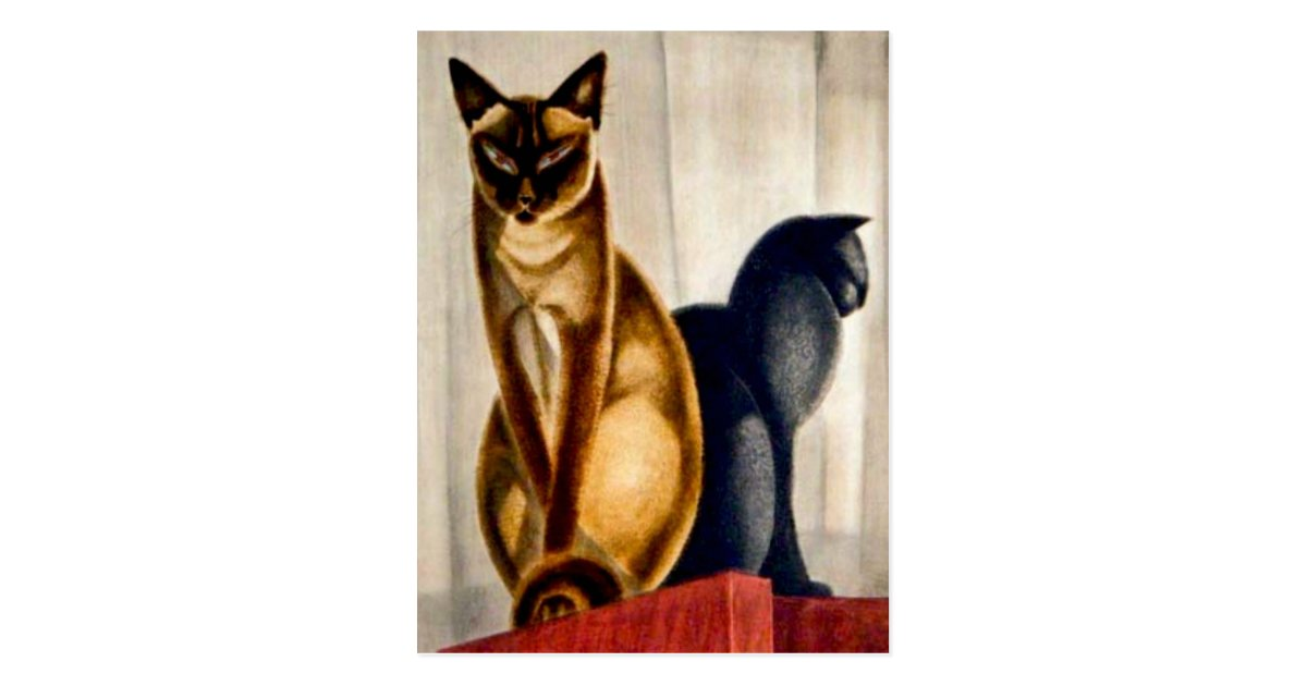 Art Deco Cats Postcard Zazzle Com