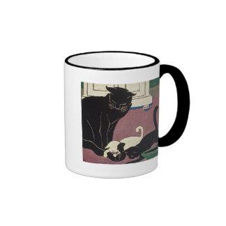 Art Deco Cats Ringer Mug
