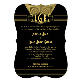 Art Deco Center Stage Gold and Black Wedding Card