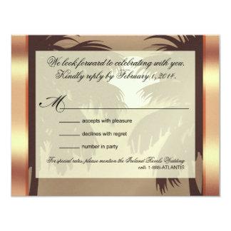 Art Deco Champagne ICE Metallic Faux Vellum RSVP 4.25x5.5 Paper Invitation Card