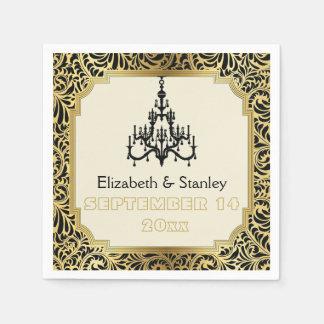 Art Deco chandelier black, gold damask wedding Napkin