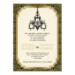 Art Deco chandelier black, gold seigaiha wedding Card