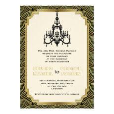 Art Deco chandelier black, gold seigaiha wedding 5